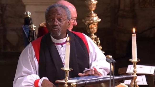 Bishop Michael Curry delivers an 'African-American gospel church'-style sermon at the royal wedding