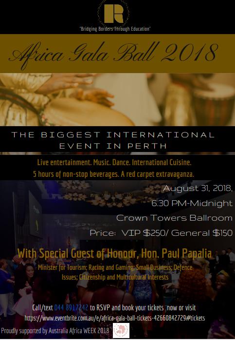 Africa Gala Ball (WA) | Regions Of Africa (promoter) | Fri 31st August 2018