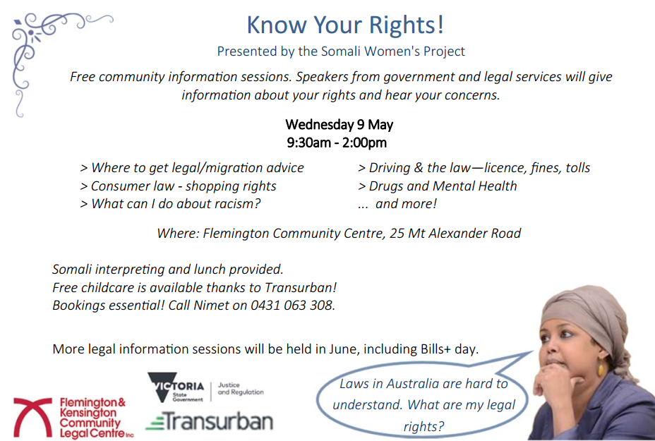 Know Your Rights Information Session (VIC) | Somali Women's Project (promoter) | Wed 9th May 2018