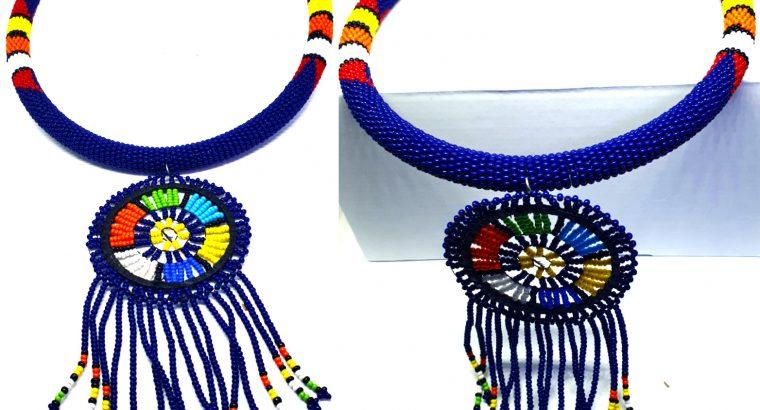 Maasai Fashion Necklace Blue