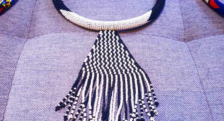 Necklace Handmade Beaded Black and White